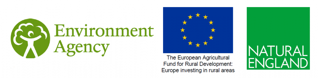 Funding organisations' logos: Environment Agency, EAFRD, Natural England.